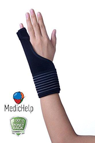 MedicHelp - Férula ajustable para pulgar, muñeca y palma. Soporte para túnel carpiano, tendinitis, artritis, tejido transpirable, fuerte cierre de velcro, marca CE