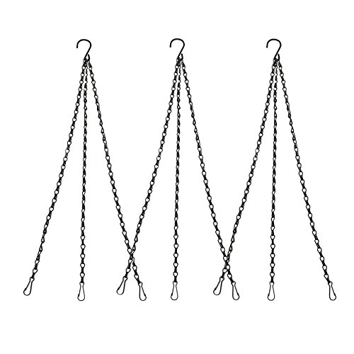 3 Sets Black Chain Flower Pot Basket Replacement Chain Hange for Bird Feeders, Planters, Lanterns and Ornaments, 19.7 inch/ 50cm
