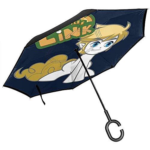 Legend of Zelda My Little Pony Link Paraplu, omgekeerd, voor auto, inklapbaar, handen in C-vorm, licht cadeau, winddicht