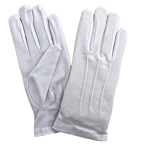 Kleidung zum Feiern Handschuhe Weiß mit Biese | Hochwertig & Formbeständig | Größe XXS - 4XL | Schützenfest Karneval Garde | Erwachsene & Kinder (X-Large)