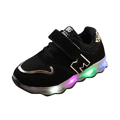 JiaMeng Zapatos de Bebé Viaje Antideslizantes Niños Bebés Zapatillas Niños Zapatos de Malla Zapatos de bebé para niños Zapatillas de Deporte con luz LED iluminadas(Negro,2-2.5T)