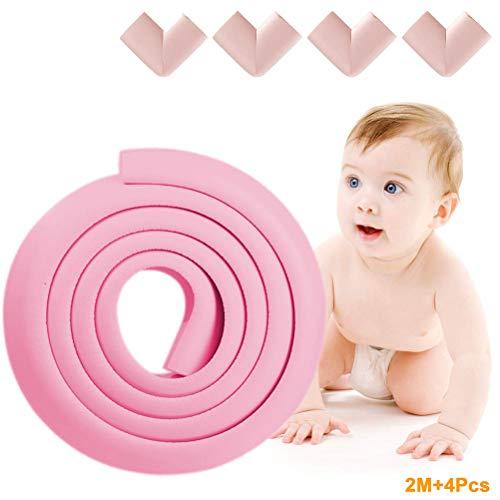 EEX Kantenschutz Gummi 2 Meter Baby Kantenschutz einschließen 4 Eckenschutz + 4 Meter doppelseitiges Klebeband Stoßschutz Baby Sicherheit