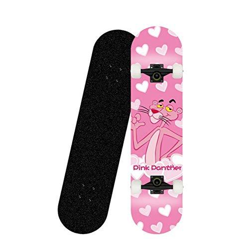 Skateboard 31x8 Zoll komplettes Cruiser-Skateboard, 7-lagige konkave Oberfläche aus kanadischem Ahorn-Doppelkickdeck, All-in-One-Skateboard für Anfänger-Pinker Panther