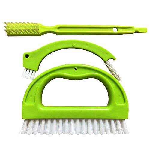 Lezed voegenborstel reinigingsborstel handborstel keukenborstel tegelborstel voegenreinigingsborstel multifunctionele universeel 3-in-1 reinigt effectief voegentegels en verwijdert schimmel (3 brush, groen)