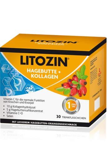LITOZIN Hagebutte + Kollagen Spar-Set 2x30 Trinkfläschchen. Trägt zur normalen Kollagenbildung bei und unterstützt die normale Knorpel- und Knochenfunktion