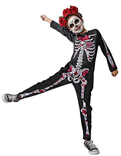 Gojoy shop- Disfraz de Skull Girl, Esqueleto para Niñas Halloween (Contiene Mono, 4 Tallas Diferentes) (5-6 años)