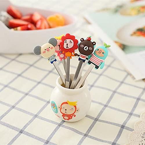 PPuujia Tenedor de fruta 6 unids/set encantador de dibujos animados de alimentos para animales, tenedores de frutas, tenedores de postre tenedores de comida para niños accesorios de cocina (color: B)