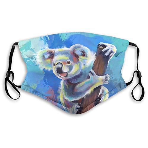 Yiayatee Colorful Animal Koala Waschbare Mode Winddicht Reitgesichtstuch, Verstellbare Hängeohren S