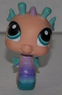 Seahorse #142 (Pink, Blue Eyes, Blue Fins) Littlest Pet Shop (Retired) Collector Toy - LPS Collectible Replacement Single Figure - Loose (OOP Out of Package & Print)