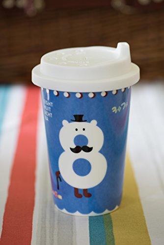 - Tazza ecologica da viaggio in ceramica per caffè, in porcellana, Tazza da tè, 350 ml, con coperchio in Silicone