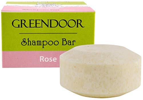 Greendoor Shampoo Bar Rose 75g, vegan, festes Haarshampoo ohne Palmöl, ohne Sulfate, Naturkosmetik, Bio Sheabutter und Aloe Vera, Natur solid Shampoo Dusch Bar, natürliche Haar-pflege Haare