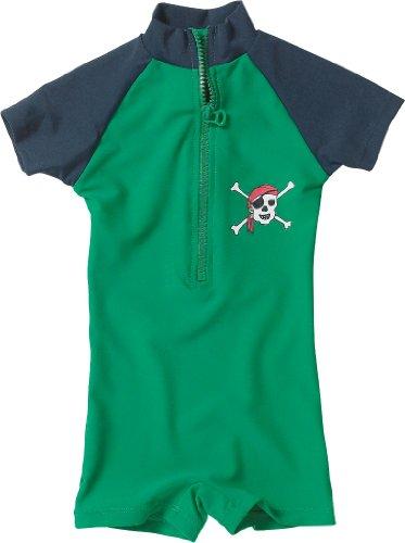 Playshoes Baby - Jungen Schwimmbekleidung 460081 Bade - Einteiler / Badehose Pirat von Playshoes mit höchstem UV-Schutz nach Standard 801 und Oeko-Tex Standard 100, Gr. 74/80, Grün (791 blau/grün)