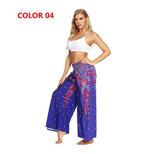 Dames yogabroek bedrukt met hoge taille,Dames yoga broek met open pijpen, comfortabele wijde pijpen, harembroek met gespleten pijpen