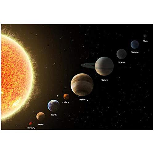 ZQXXX Los carteles del Sistema Solar, universo, imágenes del planeta, pinturas artísticas de pared para la sala de estar, impresiones de decoración del hogar, 50x75cm sin marco