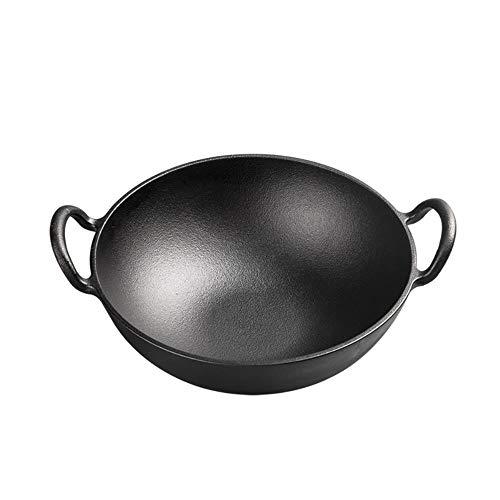 Potten, pannen, hechtende wok gietijzer verdieping 24 centimeter dubbele oorschelp verdikte gaskachel gietijzeren huis,Pan 24 cm (houten dek)