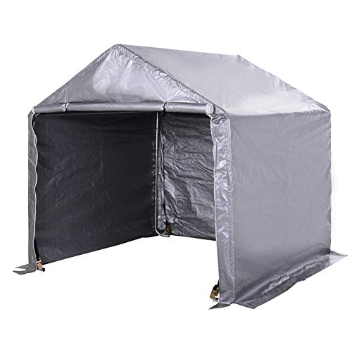 Outsunny 2 x 2 x 2m Garden Garage Storage Tent Galvanized Steel Outdoor Carport Gazebo Waterproof UV-Resistant - Grey