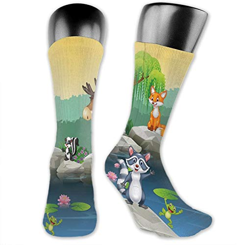 Cool Colorful Fancy Novelty Casual Cotton Socks,Funny Mascots Animals By The Lake Moose Fox Squirrel Raccoon Kids Nursery Theme