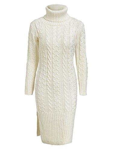 Terryfy Damen Midi Kleid Elegant Strickkleid Schlitz Rollkragen Zopfmuster Jerseykleid Pullover Weiß