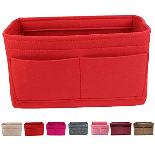 Lmeison Purse Organizer for Women, Tote Bag Organizer Insert for Neverfull mm Speedy 25/30 13 Pocket Felt Bag Organizer fits Longchamps Tote Bag, Red, Medium
