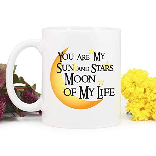 Dozili Blue Fox Gifts203 - Taza de café Dothraki con texto en inglés 'Game of Throns' con texto en inglés 'You are My Sun and Stars Moon of My Life', color blanco