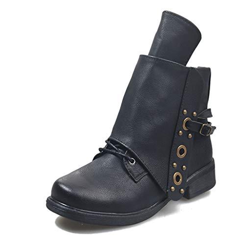 UMore Botas Cortas al Tobillo Mujer Botas de Mujer Otoño Invierno 2021 Tacon Bajo Zapatos Largas Botas Forrado de Piel Antideslizante Cómodo Cremallera Hebilla