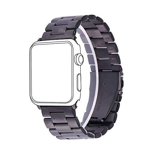 bandmax Apple Watch Stainless Steel Link Strap, Black Gun Plated Replacement Wrist Band with Metal Clasp for iWatch Series 1/2 42MM all Models (Black)