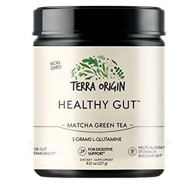 Terra Origin Healthy Gut Digestive Support Supplement, Powder, Matcha Green Tea, 30 Servings, Includes L-Glutamine, Herbs, Antioxidants for Leaky Gut Support, Promotes Healthy Digestion