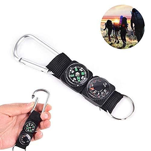Funnyfeng Mini Boussole Outdoor Thermomètre avec trousseau de clés, Fermoir mousqueton en métal, mousqueton multifonction en métal pour les sports de plein air