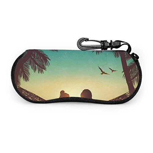 sherry-shop Estuche de gafas con mosquetón Pareja Love Beach en hamaca Inspiración Gafas de sol ultraligeras con cremallera portátil Estuche blando - Se adapta a la mayoría de las gafas
