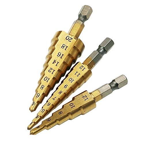 PACPL 3pcs 5/9/10 Steps 1/4' HSS Step Drill Bit Hand Tool Sets 3-12mm 4-12mm 4-20mm Step Cone Cutt Woodworking Wood Metal Drill Bit Set (Color : 3PC)