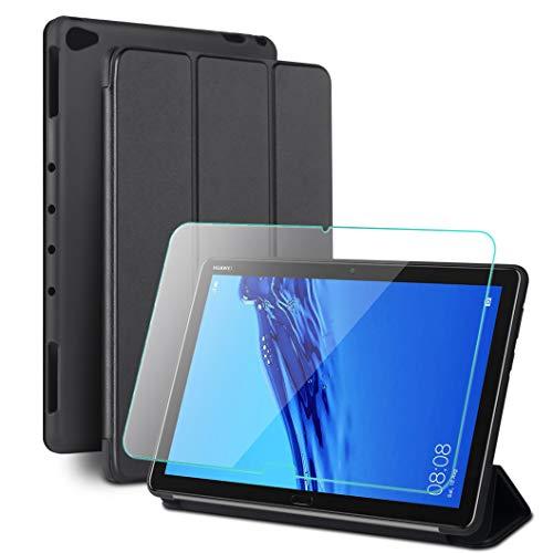 Oududianzi - Smart Cover per Huawei Mediapad M5 Lite 10 + Vetro Temperato, Tripla Custodia Pieghevole con Funzione di Supporto & Auto Svegliati/Sonno, Fodera in Microfibra + Silicone Morbido - Nero