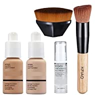 30ml Foundation Liquid Full Coverage 24HR Matte Oil Control Concealer (Nude & Buff Beige) with Makeu...