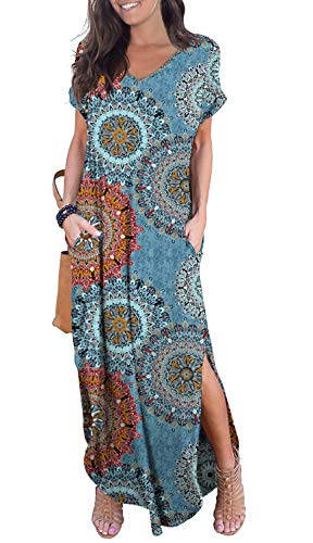 GRECERELLE Women's Casual Loose Long Dress Short Sleeve Floral Print Maxi Dresses with Pockets Mix Blue-L