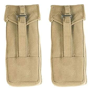 Ultimate Arms Gear 2 Pack of Surplus Zahal IDF Military UZI Magazine Khaki Tan Canvas Pouch Carrier Holder with Belt Pants Hook Holds 4 25rd Mags