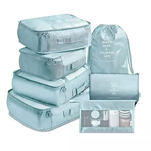 Borsa portaoggetti da viaggio per bagagli, 7 pezzi, set di biancheria multifunzionale, in tessuto, per confezionare i cubi organizzatori di viaggio, 01,