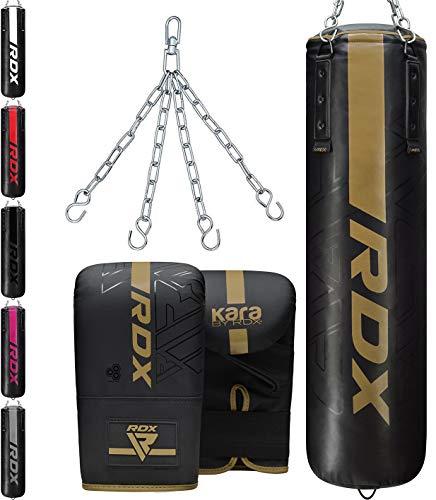 RDX Saco de Boxeo 4ft 5ft y Guantes para Entrenamiento, Relleno Kara Bolsa de Boxeo con Cadena para Muay Thai, MMA, Sparring, Kick Boxing, Artes Marciales, Punching Bag Set