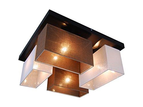 Deckenlampe - HausLeuchten JLS45WEBRD WENGE - 11 Varianten, Sockel 45 x 45 cm, Massivholz, Deckenleuchte, Leuchte, Lampe, 4-flammig (WEIß/BRAUN)