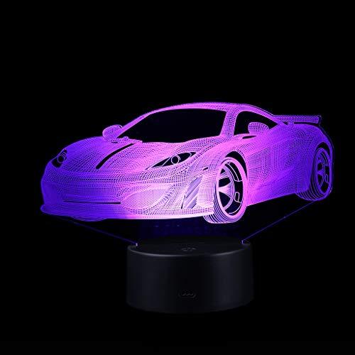 Liqiqi - Lámpara de ilusión 3D para Coche con LED de ilusión óptica, luz Nocturna con batería, 7 Colores, Interruptor táctil, USB, lámpara de Mesa, Regalo para niños