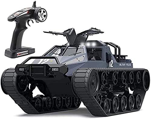 HKX 2.4 GHz IPX4 Impermeable RC Army Crawler e RC Tank Modelo Grande controlado por Radio Control Remoto Panzer Tank Rotate (Regalo de cumpleaños Festivo)