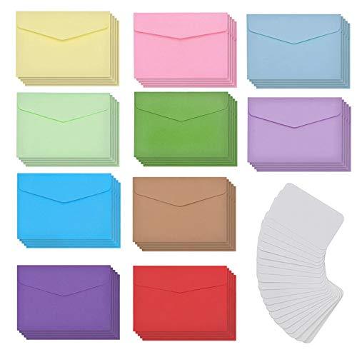 CYH Mini Sobres, 50 Piezas Sobres de Colores de Papel Kraft avec 50 Piezas Tarjeta en Blanco, Multicolor Pequeño Sobre para Materiales de Regalo de Bodas y Fiestas de Cumpleaños
