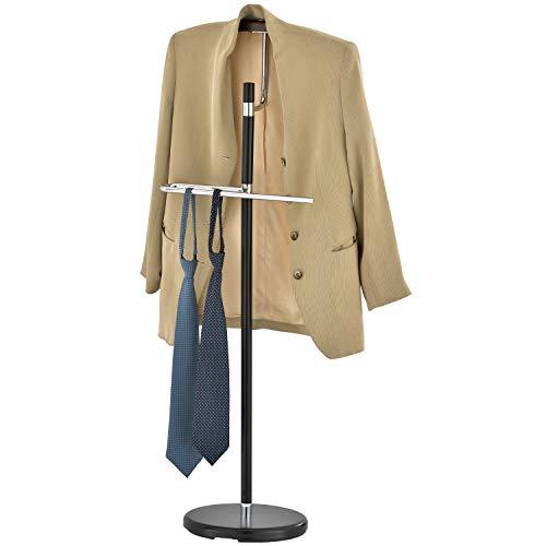 MyGift Luxury Brown Wood & Black Metal Suit Valet Floor Stand, Freestanding Garment Organizer Rack with Coat & Pants Hanger