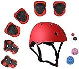 ZIMAX Protección Patinaje, Protección Infantil Consta de Casco Ajustable Rodilleras Coderas, Patinaje Ciclismo Monopatín y Deportes Extremos (Rojo)