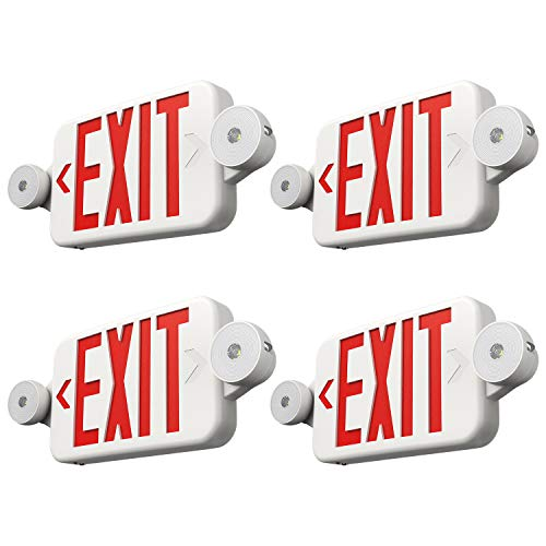 FREELICHT 4 Pack Exit Sign with Emergency Lights, Two LED Adjustable Head Emergency Exit Light with Battery, Exit Sign for Business