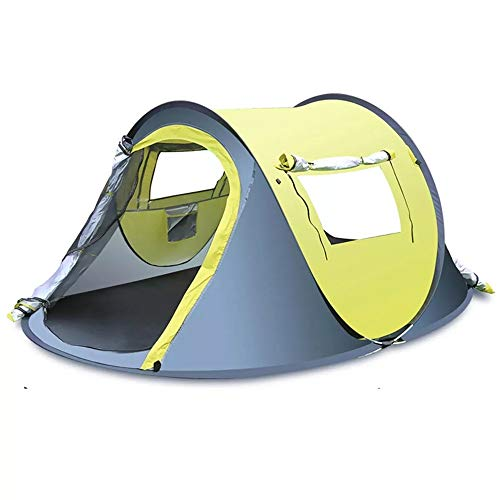 PN-Braes Family Tent Camping Hiking Tent 3-4 People Outdoor Quick Automatic Open Tent Waterproof Rainproof Canopy Sunshade With Carrying Bag Pop-Up Tents (Color : Blue, Size : 245 x 145 x 100cm)