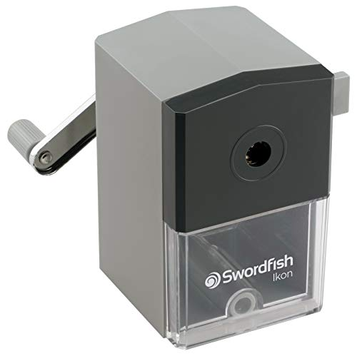Swordfish 'Ikon' Desktop Manual Pencil Sharpener with Replaceable Helical Blade and Auto Stop Function [40100]