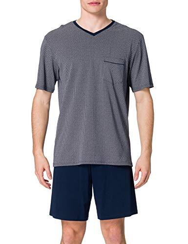 Schiesser Herren Anzug Kurz Zweiteiliger Schlafanzug, Nachtblau, L