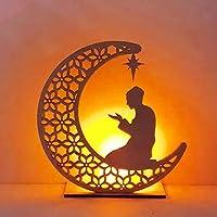 DIY Wooden Moon Lamp, Eid Mubarak Ramadan Decoration for Home Decorations,Party Supplies Night Light LED Lamp (Man)