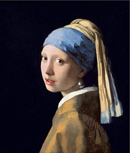 Cuadro sobre Lienzo Pintura Al Óleo Famosa Chica con Pendiente Pintura Arte La Pared para La Sala Estar Hogar (Sin Marco)