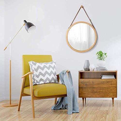 HAOYANGDE Engdjz spegel bambu rund hängande spegel - justerbar faux läderband fåfänga spegel spegel make up rakning smink kosmetiska sovrum studentrum ingång, råvarukod: jzemgd-67 (Size : 45x45cm)