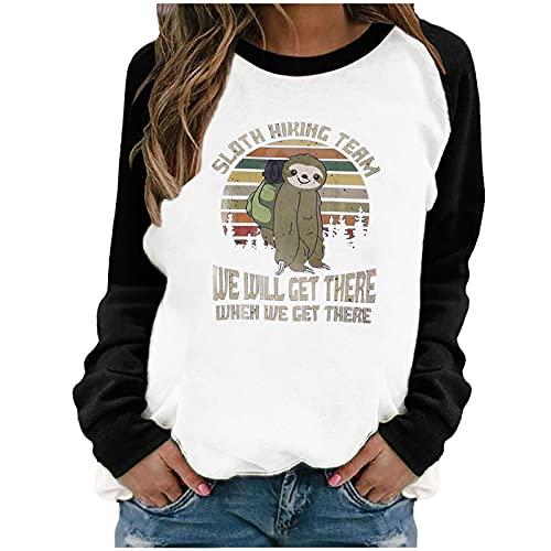 Lalaluka Langarmshirt Damen Sweatshirt Brief Drucken Farbblock Rundhals Frauen Pullover Oberteile Langarm Hoodie T Shirt Bluse Tshirt Tunika Top